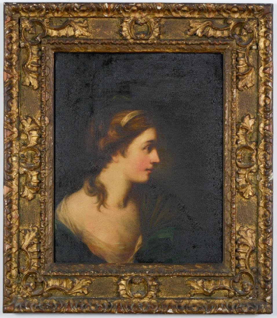 Antique Unsigned Portrait Of A Lady Oil Painting
