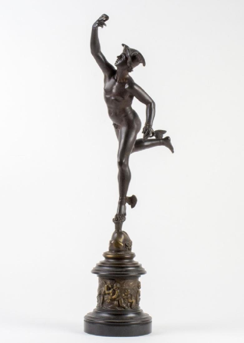 """Antique Bronze Sculpture Statue of Mercury 28"""""""