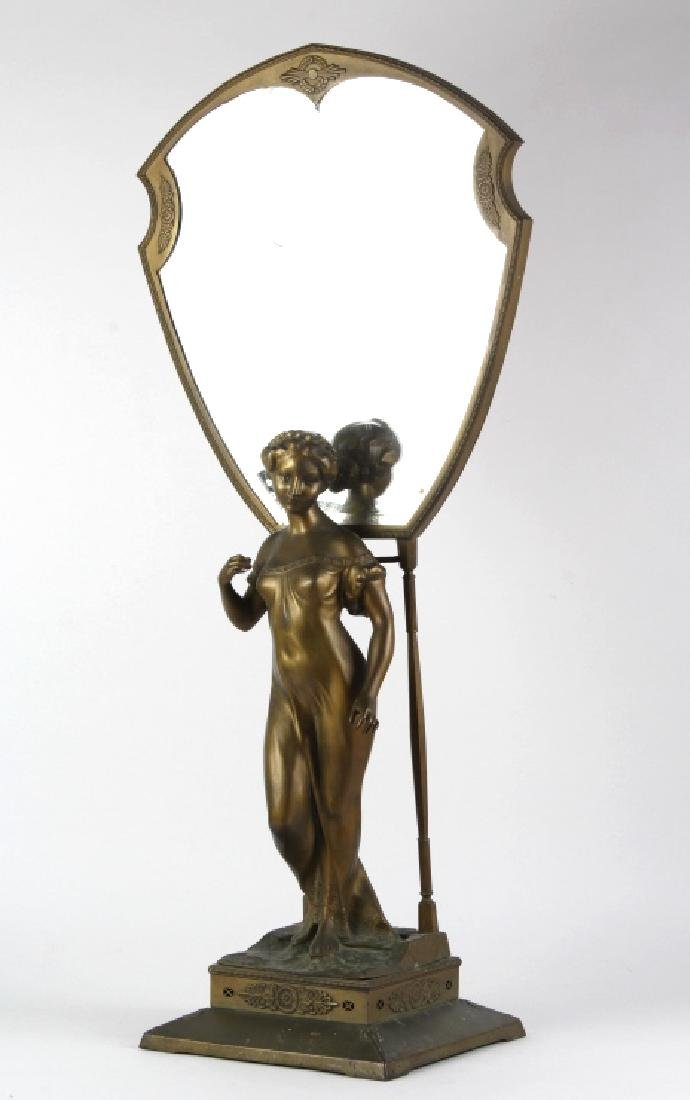 Fine 1930's Art Deco Large Brass Figural Mirror