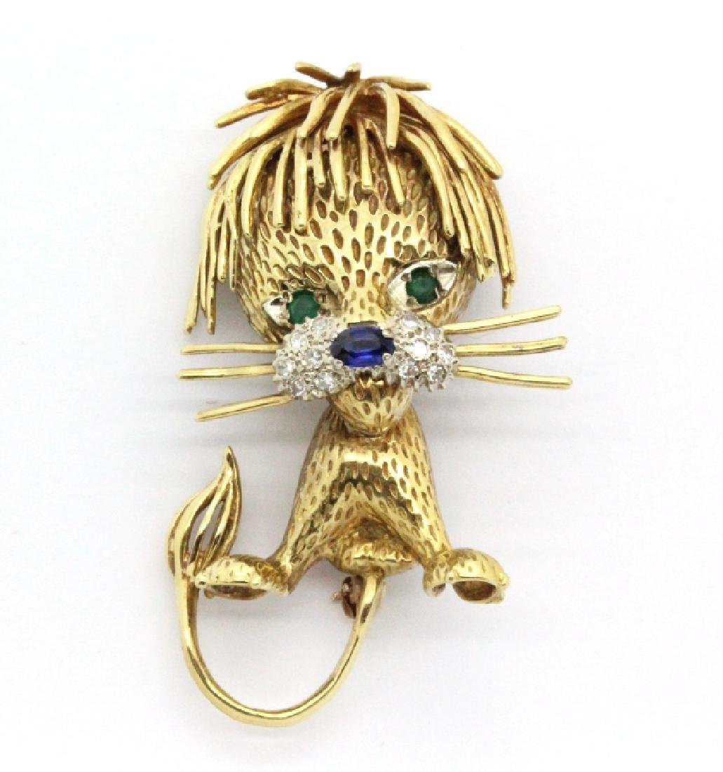 VCA Style 18k Sapphire Diamond & Emerald Lion Pin