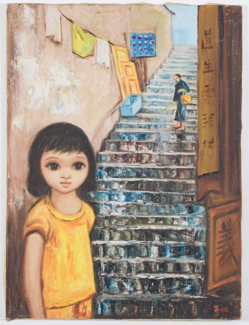 SIGNED Big Eyed Girl Keane Era Portrait Painting