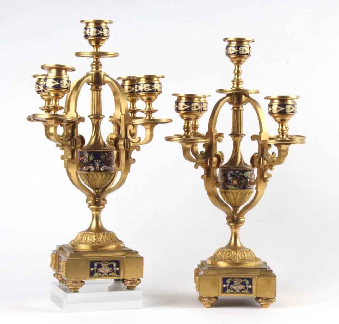 "PAIR Dore Bronze Champleve Enamel Candelabras 14"""
