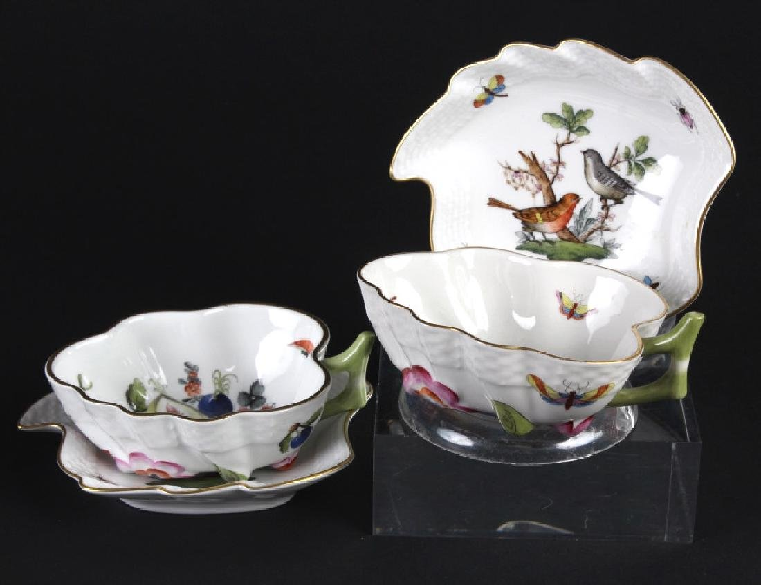 4 Piece Herend Rothschild Porcelain Dish Cup Lot