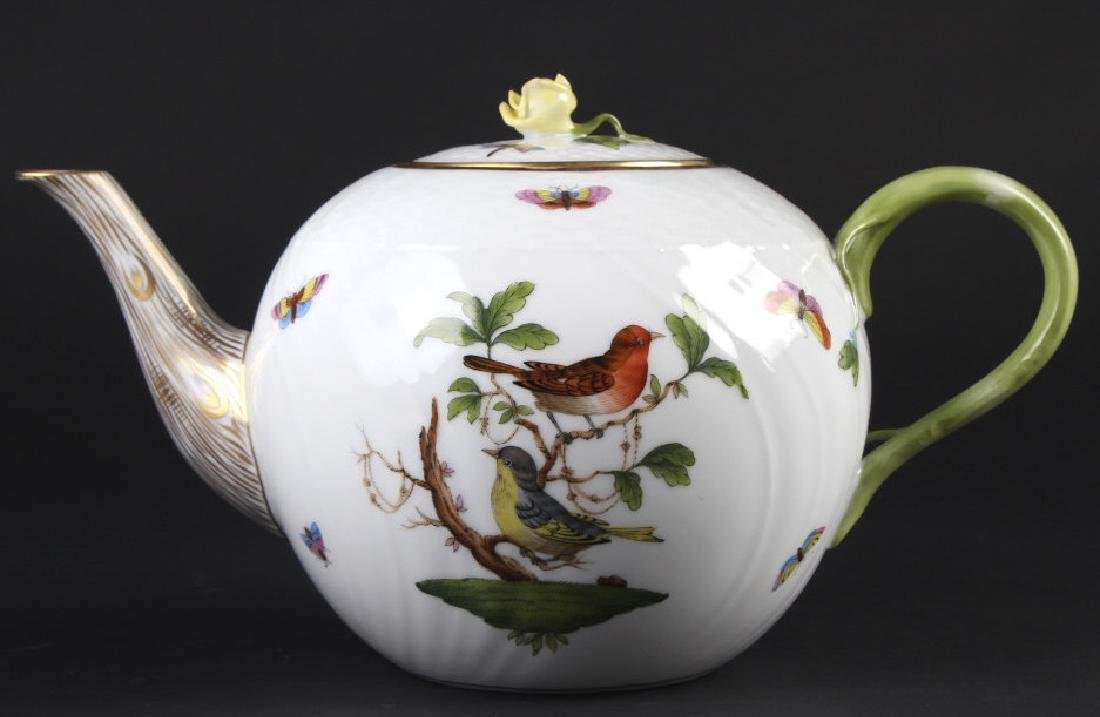 Herend Rothschild Porcelain Teapot with Rose Lid