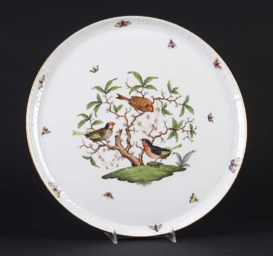 "Herend Rothschild Porcelain 14"" Round Serving Tray"