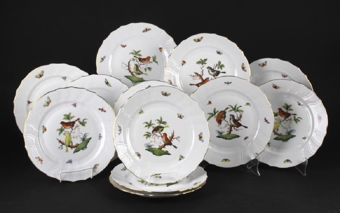 SET 12 Herend Rothschild Porcelain Dinner Plates