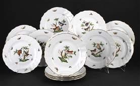 SET 13 Herend Rothschild Porcelain Dinner Plates