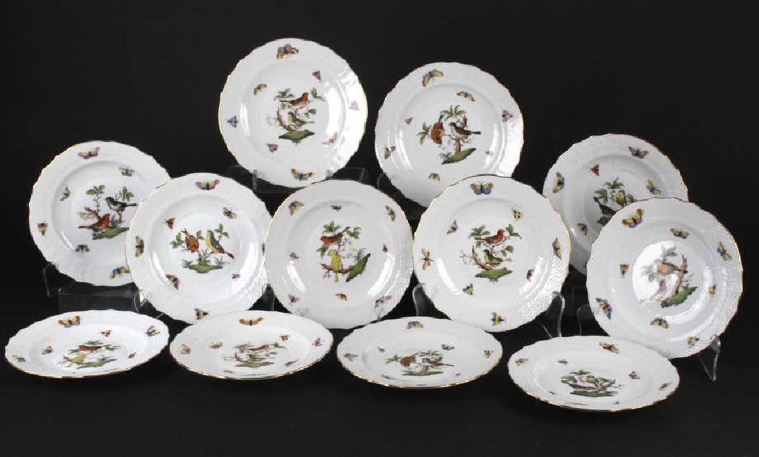 SET of 12 Herend Rothschild Porcelain Salad Plates