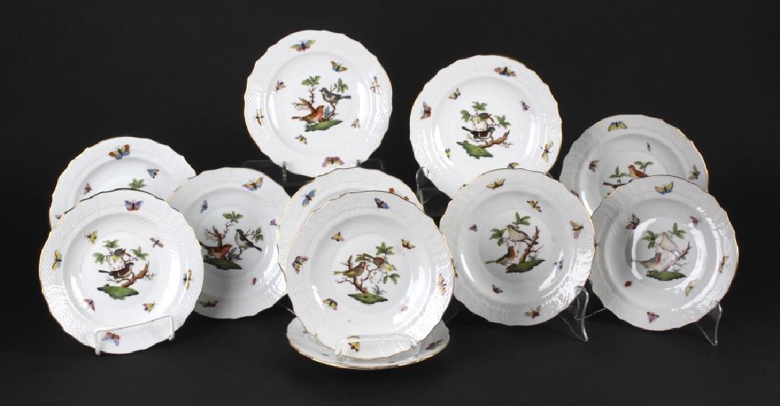 SET of 11 Herend Rothschild Porcelain Salad Plates