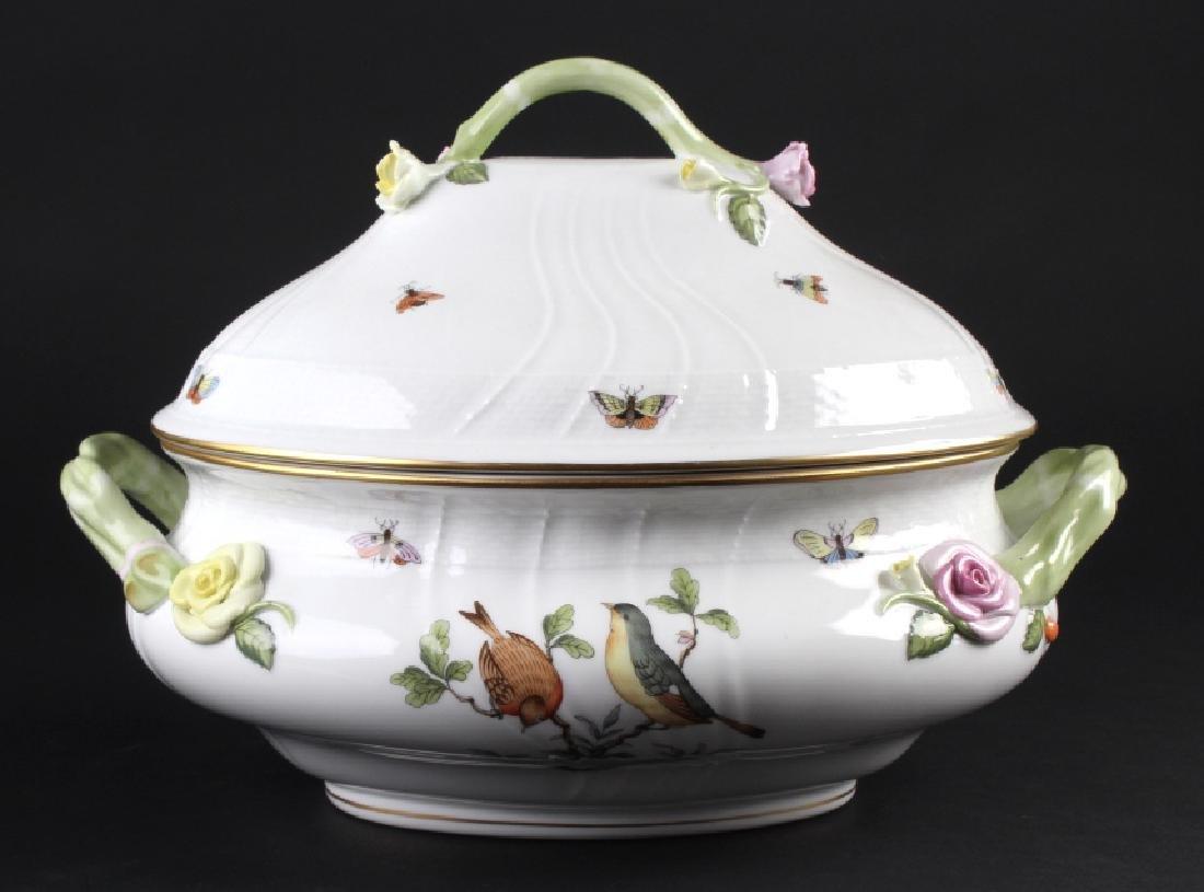 Herend Rothschild Porcelain Large Oval Soup Tureen