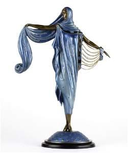 ERTE Bronze Moonlight  Art Deco Lady LE Sculpture