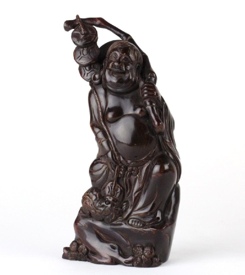 """Chinese Lucky Hotai Money Buddha Horn Statue 11"""""""
