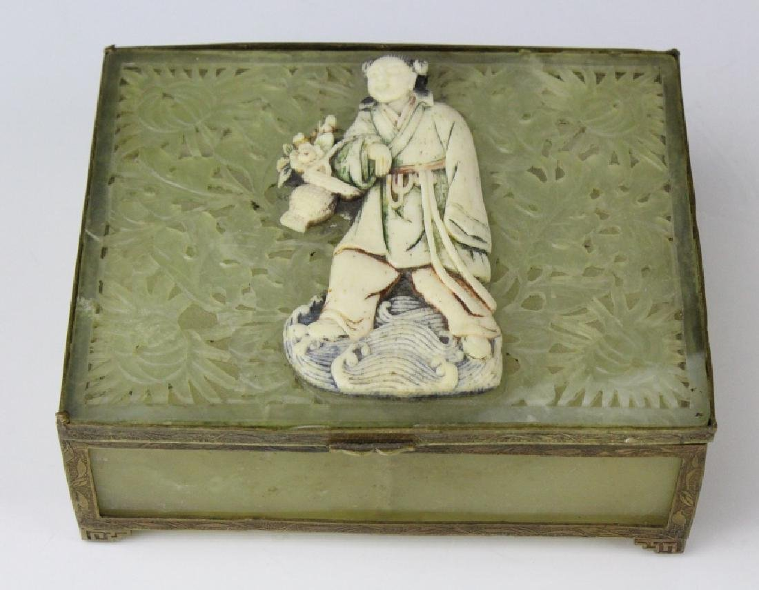 Antique Chinese Reticulated Green Jade Brass Box