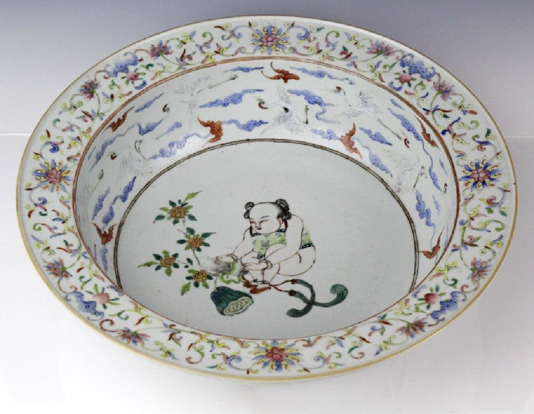 "Antique Chinese Enamel Figural & Crane 15""  Bowl"