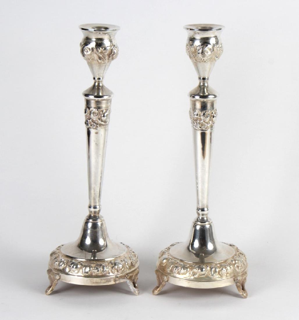 PAIR Judaica Sterling Silver Sabbath Candlesticks