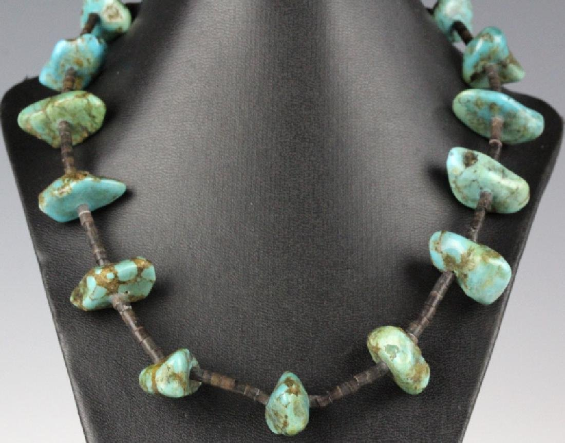 "Native American Indian Blue Turquoise 26"" Necklace"