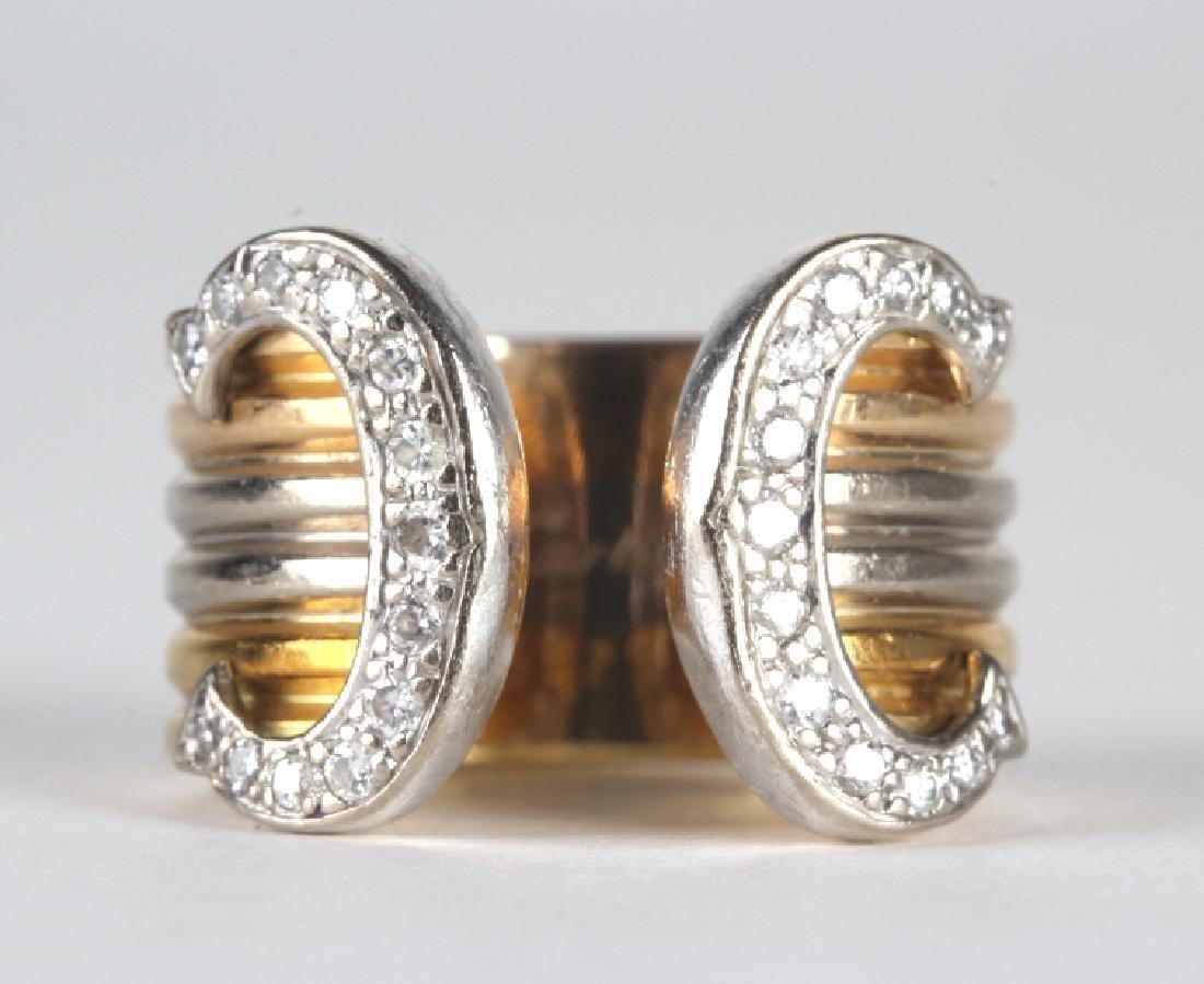 Cartier Diamond Tri Color Gold Double C Logo Ring