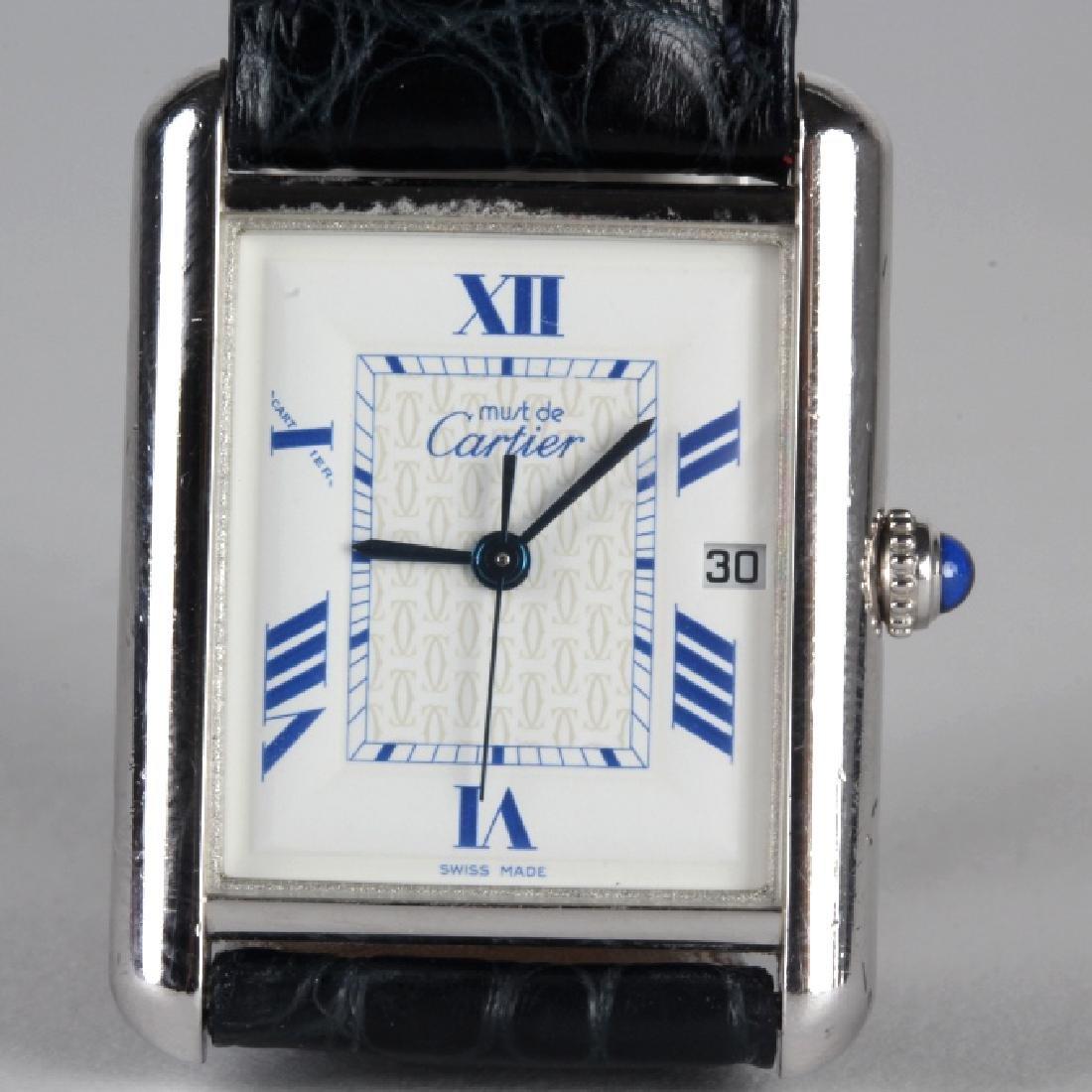 Must De Cartier Sterling Silver Tank Watch 2414
