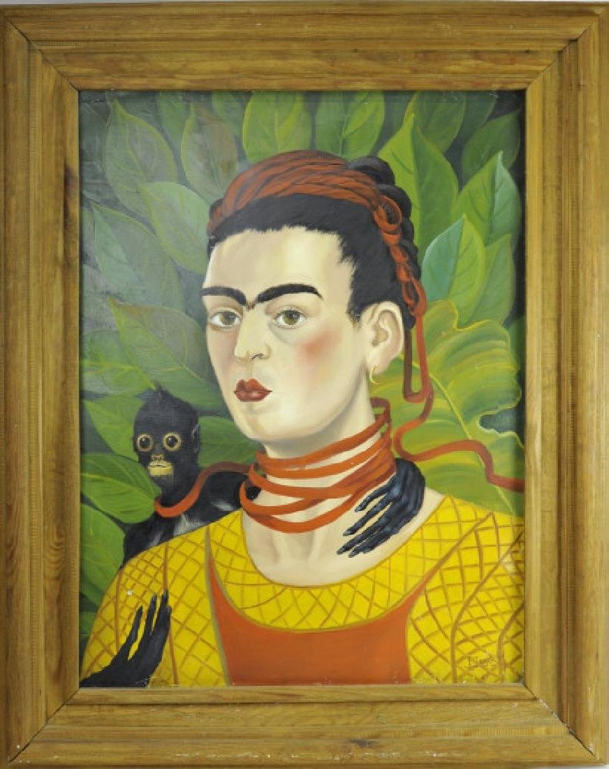 Original Frida Kahlo Portrait Oil Painting FRAMED