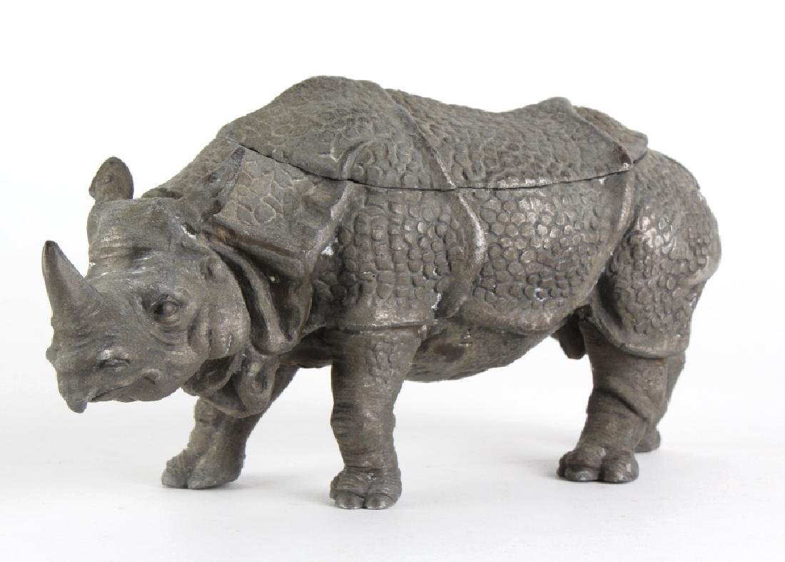 Antique Detailed Figural Rhinoceros Double Inkwell