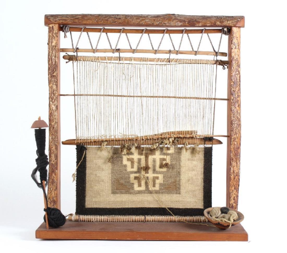 Native American Navajo Miniature Wood Rug & Loom