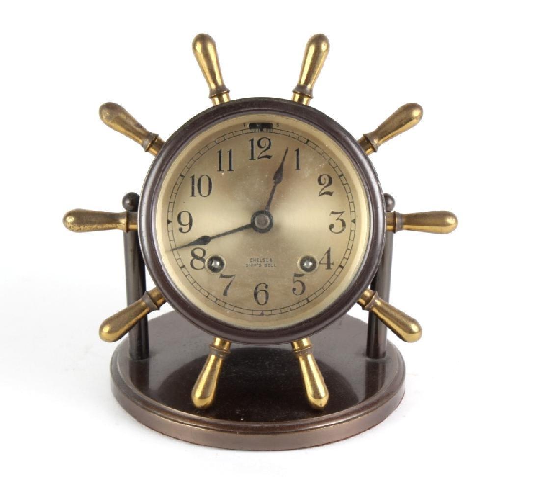 VTG Brass Swiveling Chelsea Ships Wheel Bell Clock