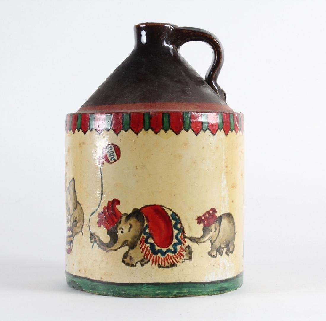 OLD Folk Art Painted Circus Stoneware Pottery Jug