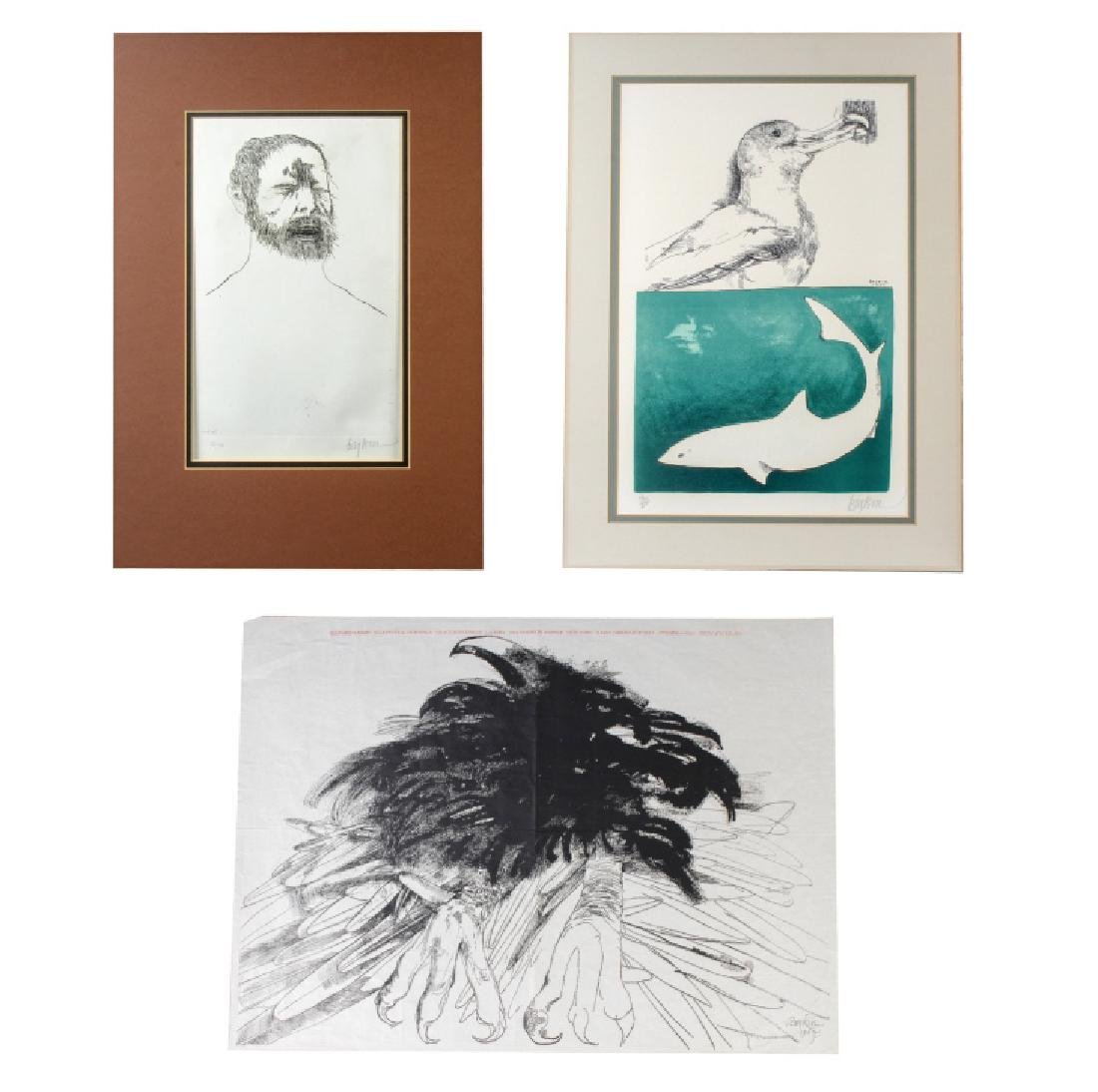 Lot of 3 Art Works By Leonard Baskin BASS MUSEUM