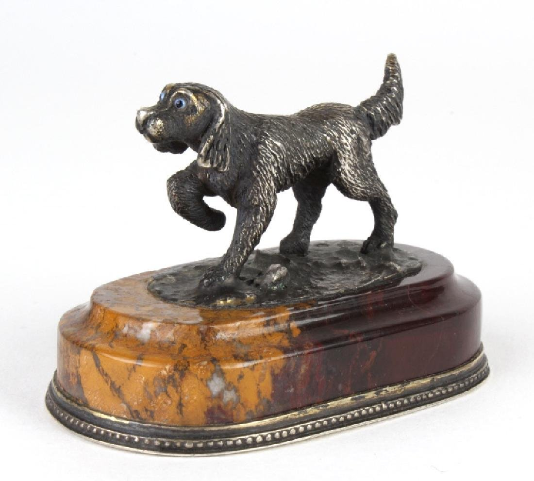 Antique Russian 84 Silver Miniature Pointer Dog