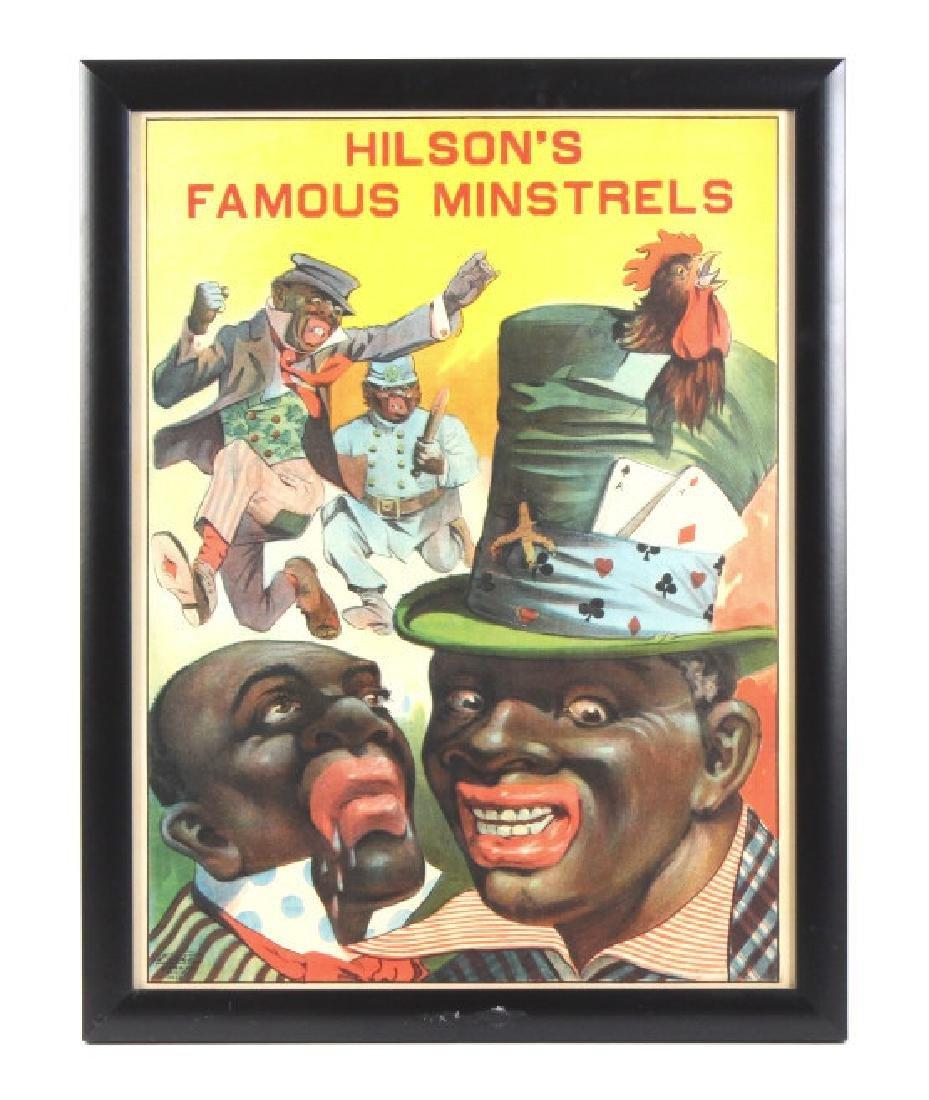 Hilson's Famous Minstrels Poster Black Americana