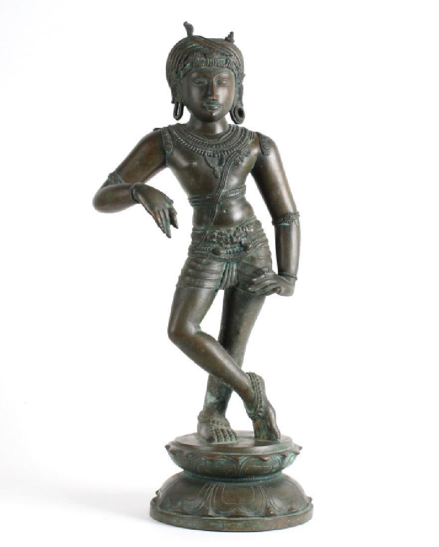 "Antique Cast Bronze Figure of Standing Buddha 23"""