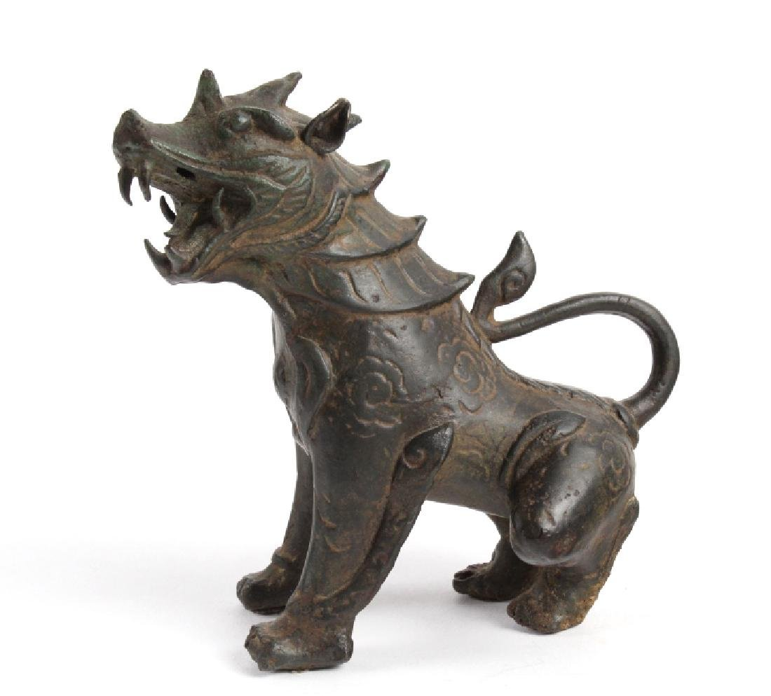 "Old Chinese Fierce Foo Lion Dog Bronze 6""  Statue"
