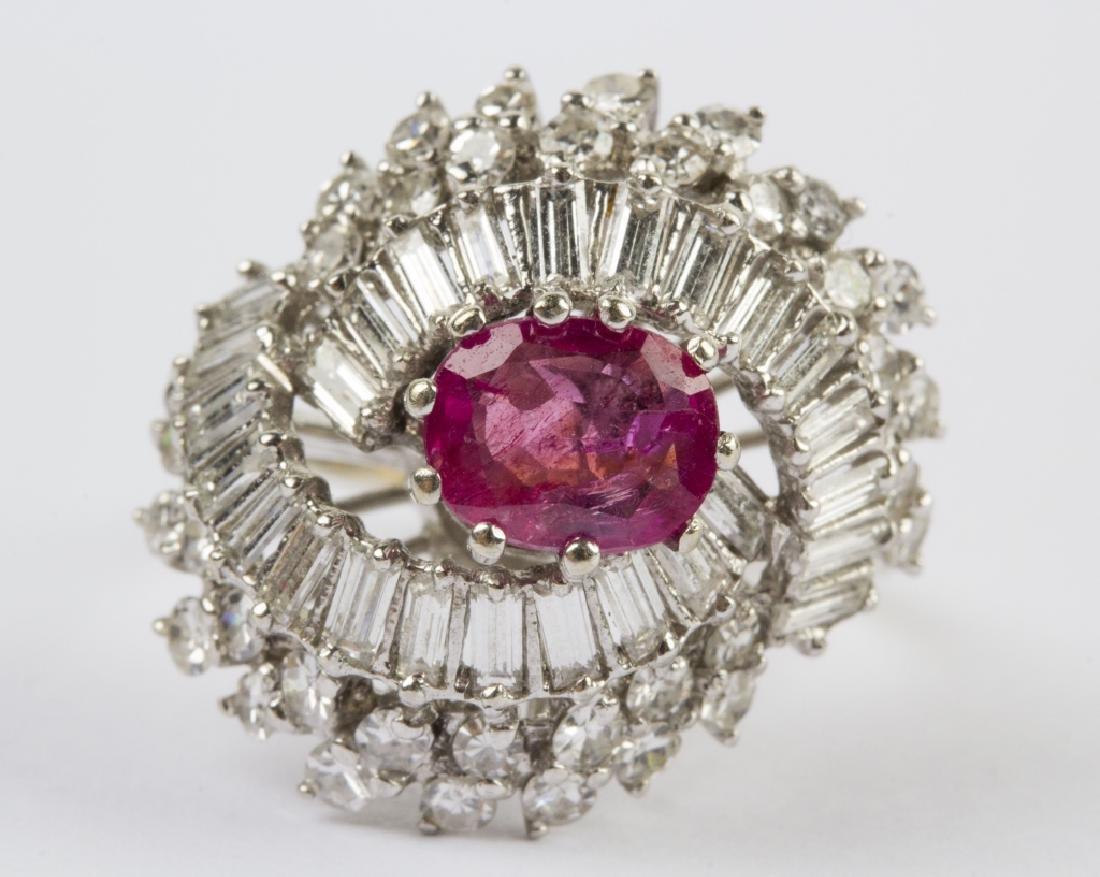 Hollywood Regency 14k Ruby, Diamond Ballerina Ring
