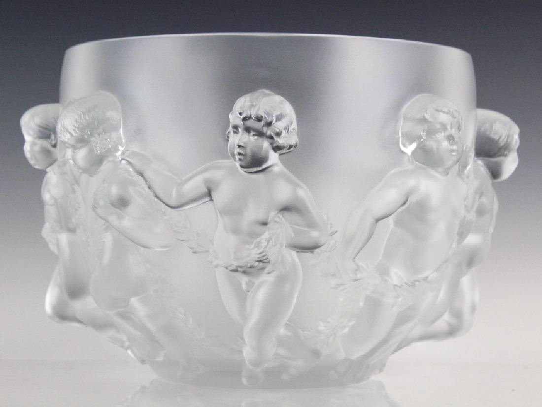 Lalique Luxembourg French Art Glass Bowl Vase 13""