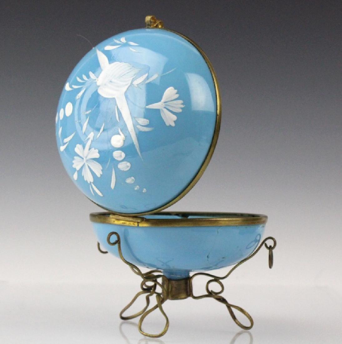 Antique Victorian Enameled Opaline Glass Casket