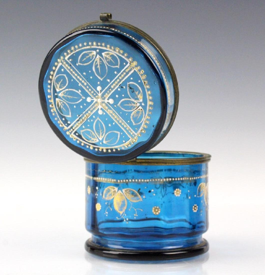 Antique Victorian Enameled Aqua Blue Glass Casket