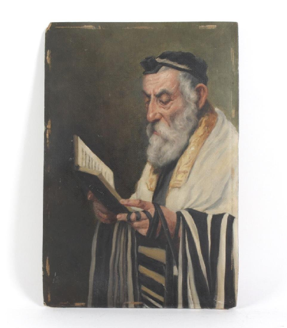Signed R Friedl Oil Painting Of A Rabbi & Torah