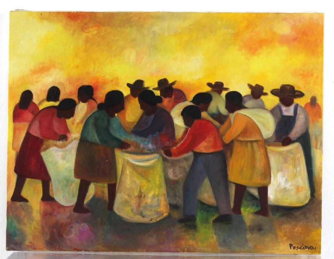 Aurelio Pescina Oil On Canvas Painting, Mexico