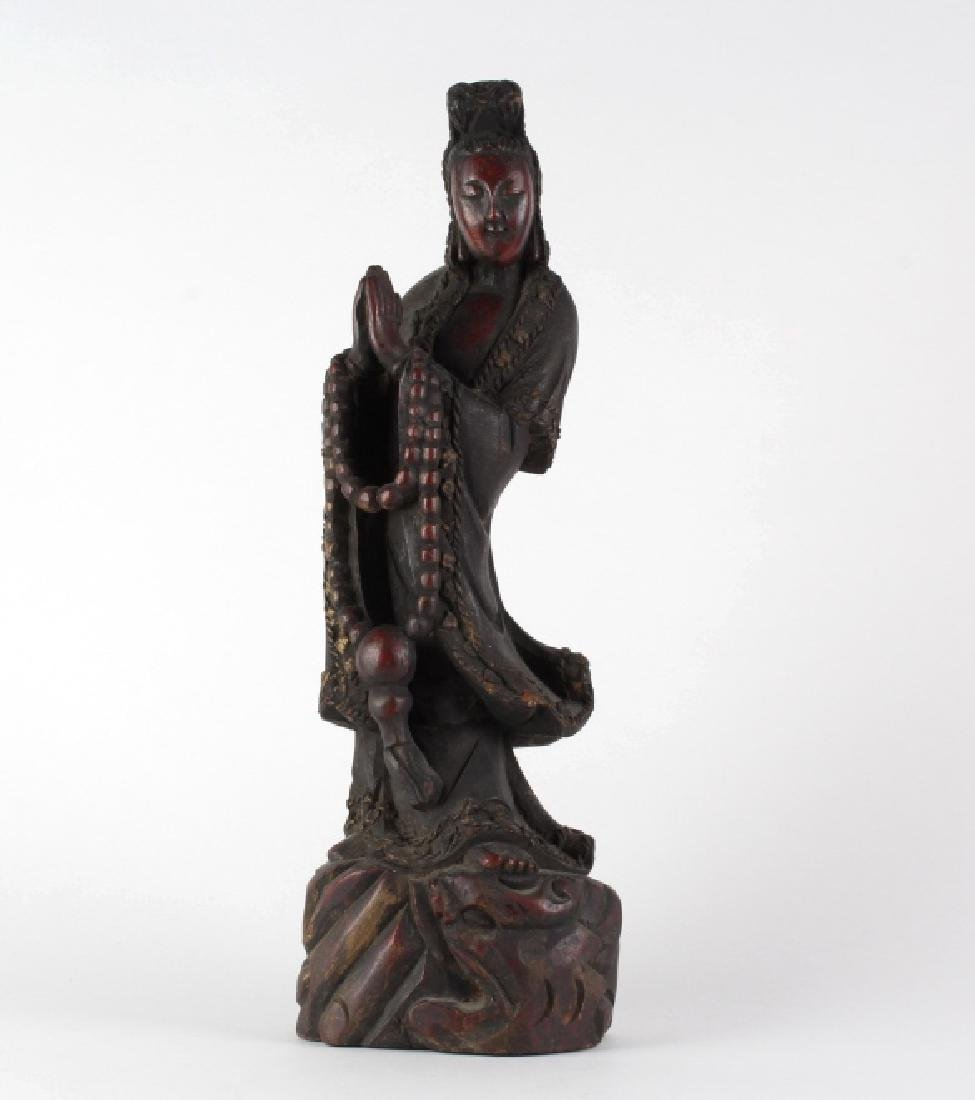 Antique Chinese Carved Wood Quan Yin Sculpture 18""