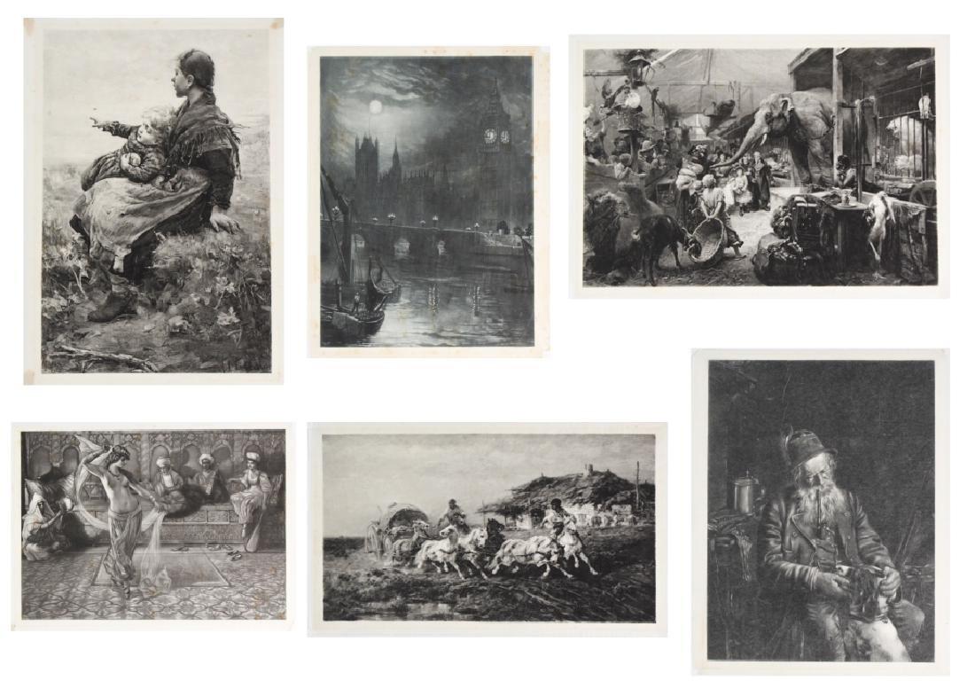 LOT of Six Antique Silkscreen on Paper BASS MUSEUM
