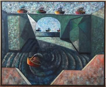 Juan Urbina NAUFRAGIO Large Oil On Canvas Painting