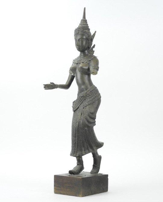 Antique Bronze Asian Thai Goddess Statue Sculpture
