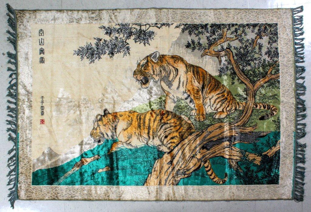 Fine Handmade Asian Silk Tiger Rug Tapestry