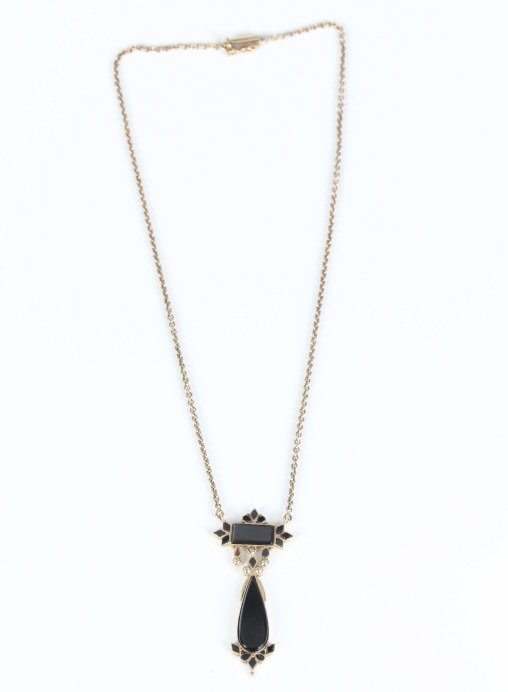 Victorian 9kt Yellow Gold & Onyx Necklace