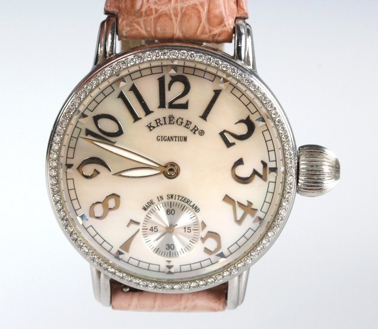 Krieger Gigantium Mop Diamond Pink Alligator Watch