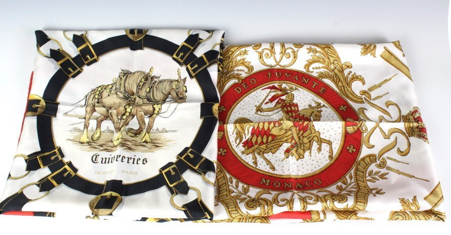 Lot of Two Vintage Hermes Silk Scarves
