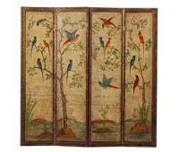 Painted 4 Paneled Leather Scroll Screen w Birds