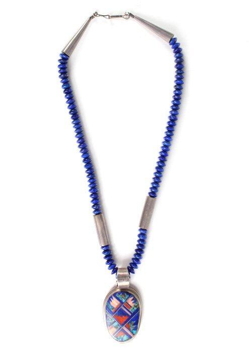 Zuni Mosaic Inlaid Gemstone Sterling Necklace