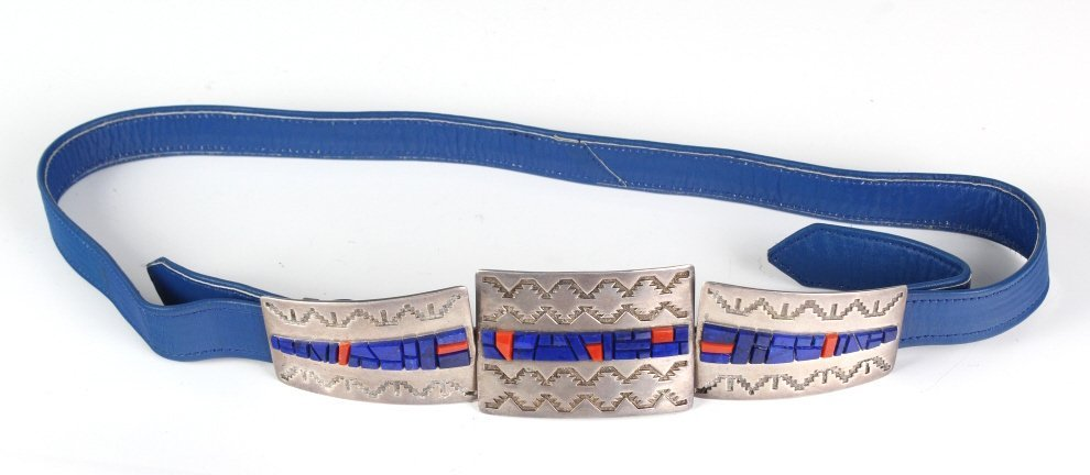 Navajo Sterling Silver Lapis Lazuli & Coral Belt