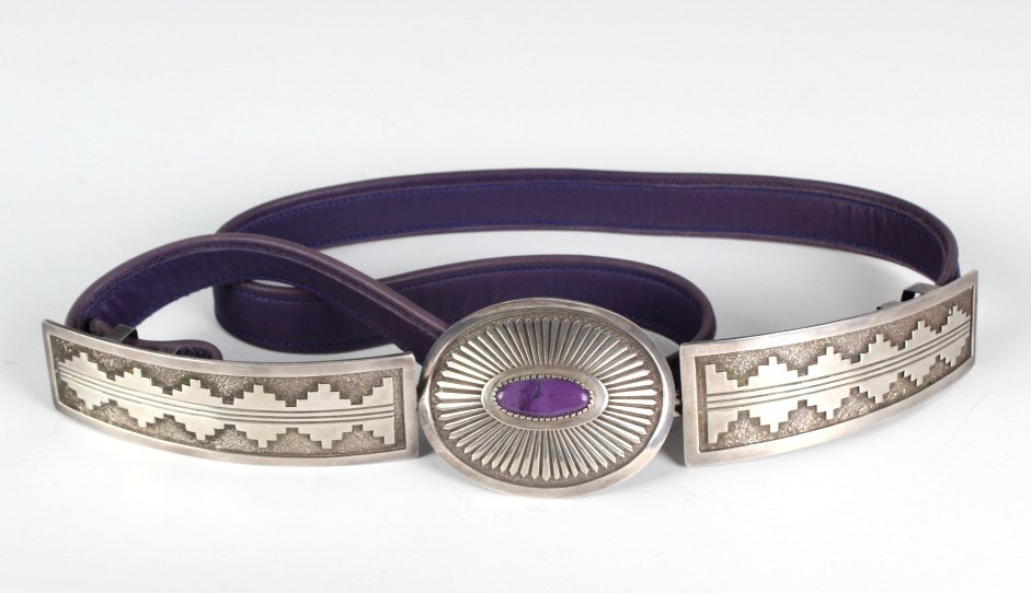 Navajo Sterling Silver & Mojave Turquoise Belt